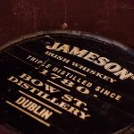 Wooden barrel with stencil that reads 'Jameson Irish Whiskey, Triple Distilled since 1780, Bow St. Distillery, Dublin""