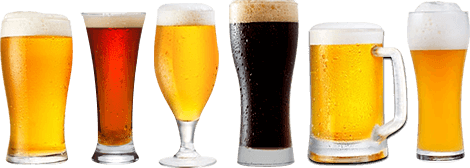 Series of various sizes and types of beer